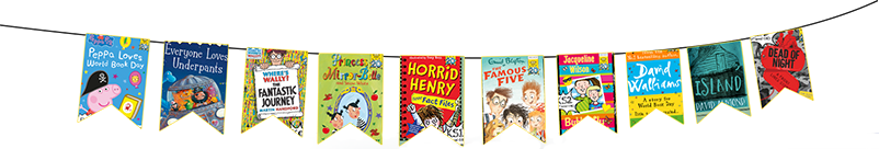 Flags showing book covers for the primary World Book Day books